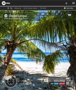 Tumbonas en la Playa de Mamanuca - Vomo - Fiji - Foto Pano 360 VR