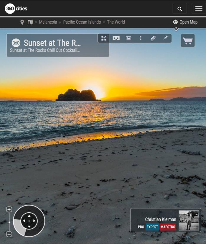 Puesta de Sol - Playa de The Rocks Bar - Vomo, Fiji - Foto Pano 360 VR