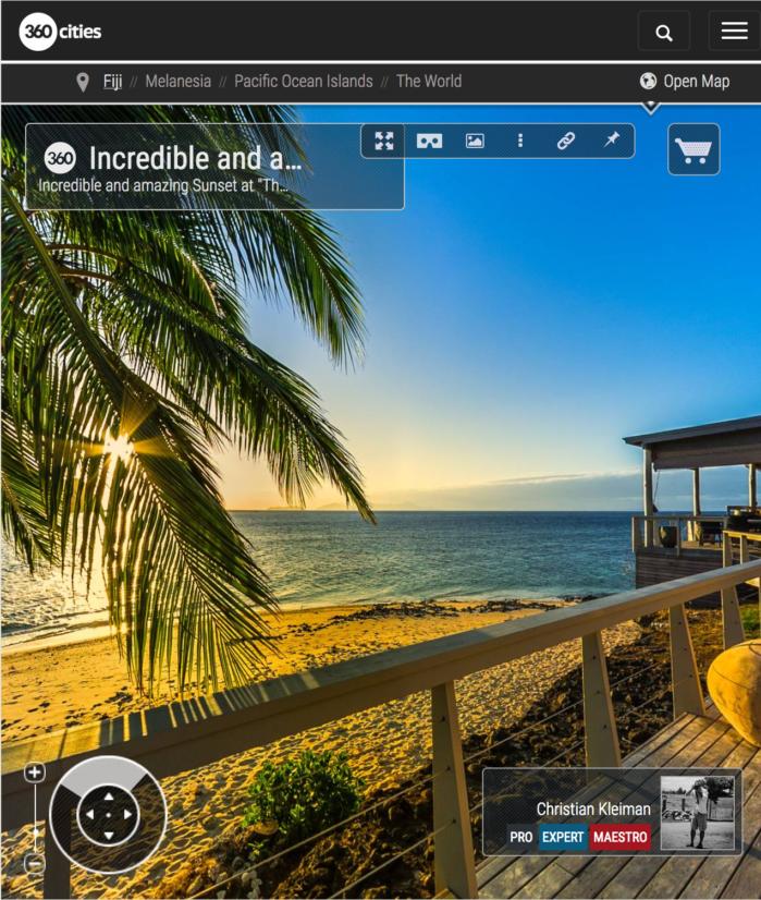 Espectacular Puesta de Sol en Rocks Bar - Vomo, Fiji - Foto Pano 360 VR