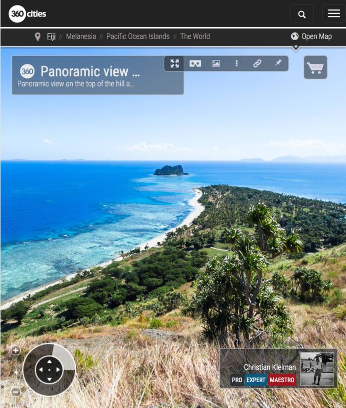 Vista panorámica en la cima de Isla Vomo - Fiji - Foto Pano 360 VR
