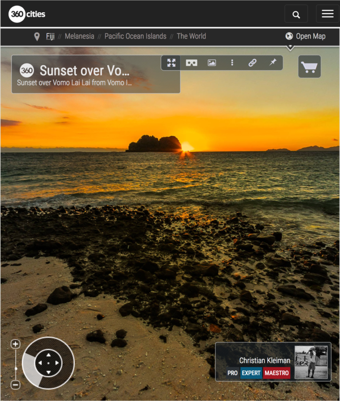 Puesta de Sol detrás de Vomo Lai Lai - Fiji - Foto Pano 360 VR