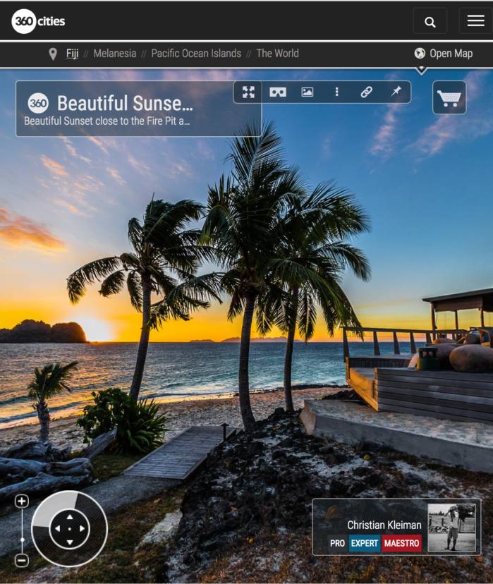 Hermosa puesta de Sol en Isla Vomo - Fiji - Foto Pano 360 VR