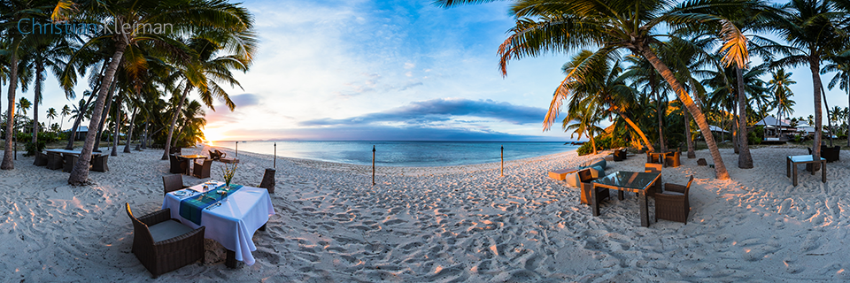 Sunset Dinner Setup at Vomo Island Resort - 360 VR Pano Photo