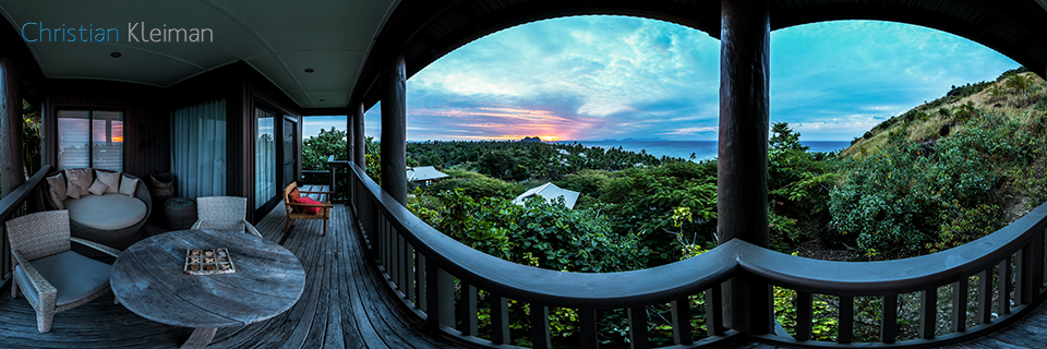 Spectacular Sunset. Hillside Villa at Vomo Resort - 360 VR Pano Photo