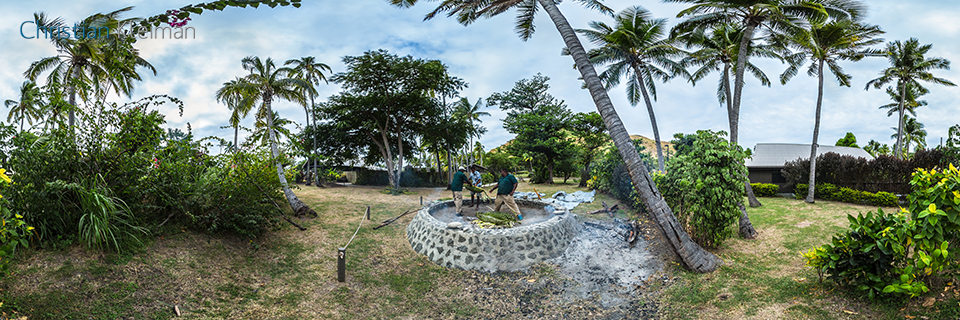 Preparation of The Lovo at Vomo Island Resort, Fiji - 360 VR Pano Photo