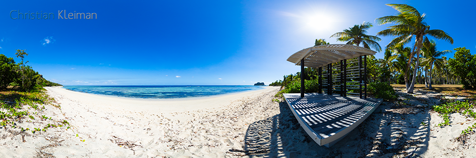 Cabana at Mamanuca Beach - Vomo Island, Fiji - 360 VR Pano Photo