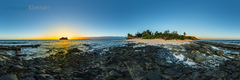 Twilight at the reef - Beach of Vomo Island, Fiji - 360 VR Pano Photo