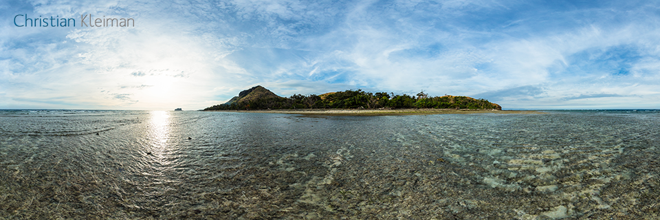 Low Tide on the Reef - Vomo Island, Fiji - 360 VR Pano Photo