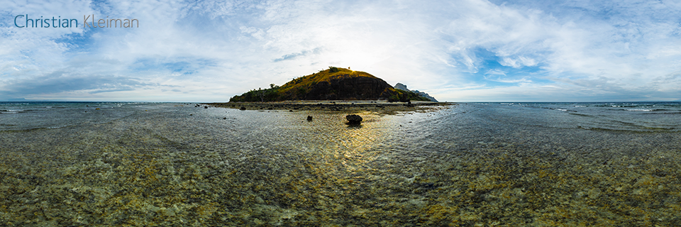 Sunset on the Reef at Low Tide - Vomo Island, Fiji - 360 VR Pano Photo