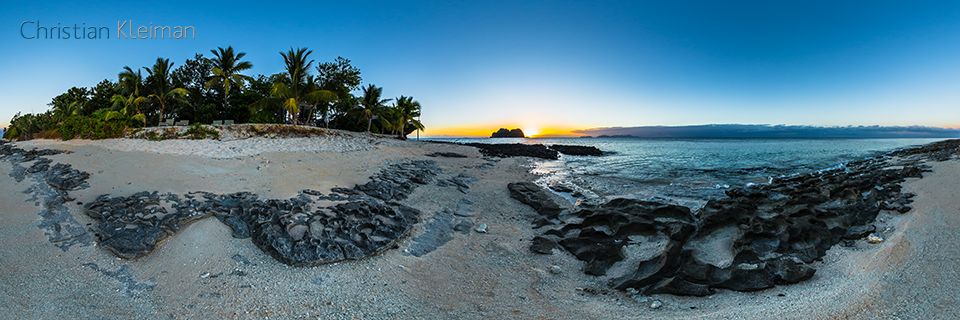 Beautiful Sunset behind Vomo Lailai, Fiji Islands - 360 VR Pano Photo