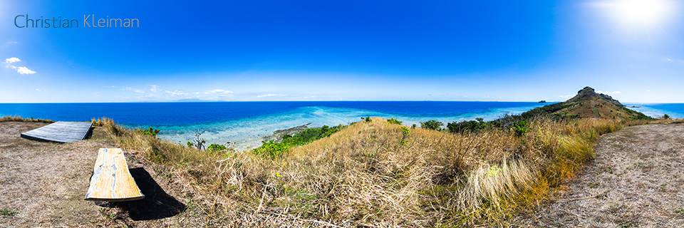 Yoga Deck at the far South end of Vomo Island, Fiji - 360 VR Pano Photo