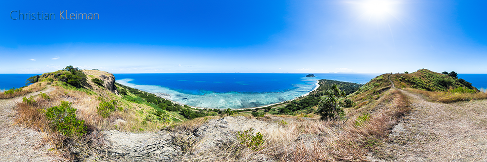Pano view at the top of the mountain - Vomo Island - 360 VR Pano Photo