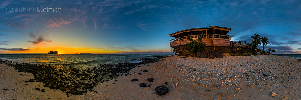 Sunset over Vomo Lai Lai at Vomo Island Resort - 360 VR Pano Photo