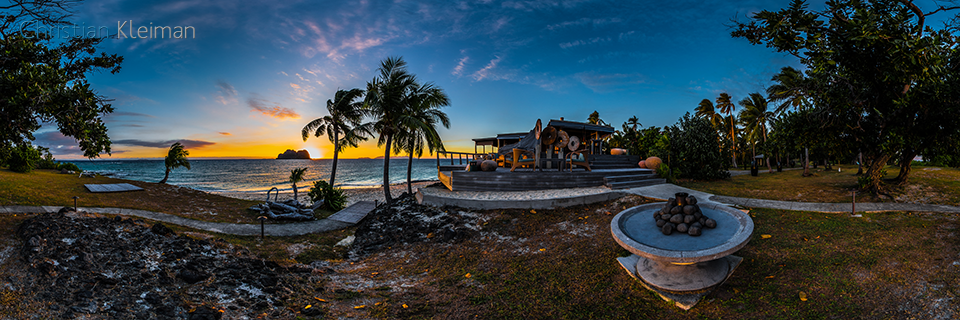 Beautiful Sunset at the fire pit - Vomo Island - 360 VR Pano Photo
