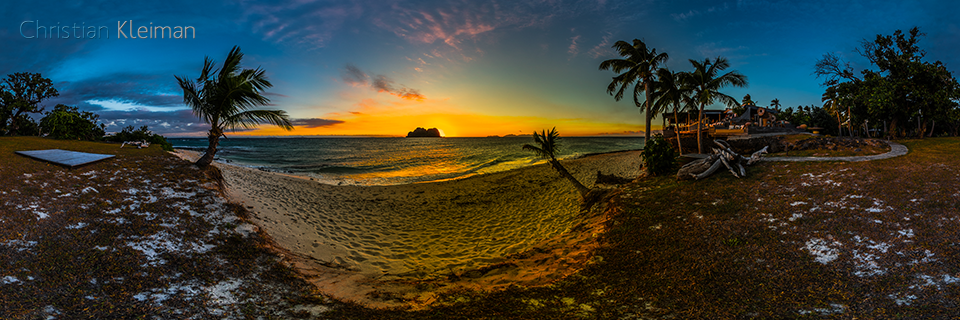 Dusk and Sunset at the Beach Side - Vomo Island - 360 VR Pano Photo