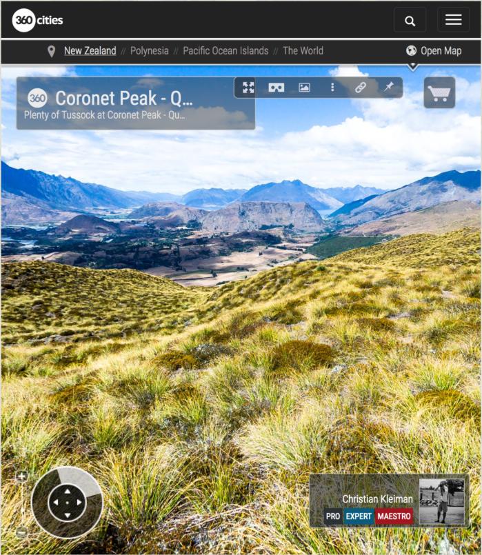 Vista 360 VR Pano Foto en Coronet Peak - Queenstown, Nueva Zelanda