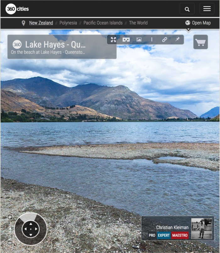 360 VR Pano Photo view at Lake Hayes - Queenstown, New Zealand