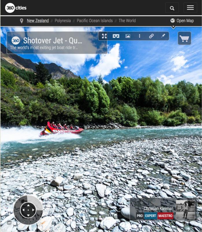 Vista 360 VR Pano Foto del Shotover Jet - Queenstown, Nueva Zelanda