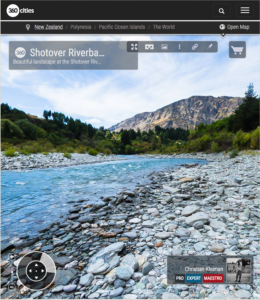 360 VR Foto de la orilla del río Shotover - Queenstown, Nueva Zelanda