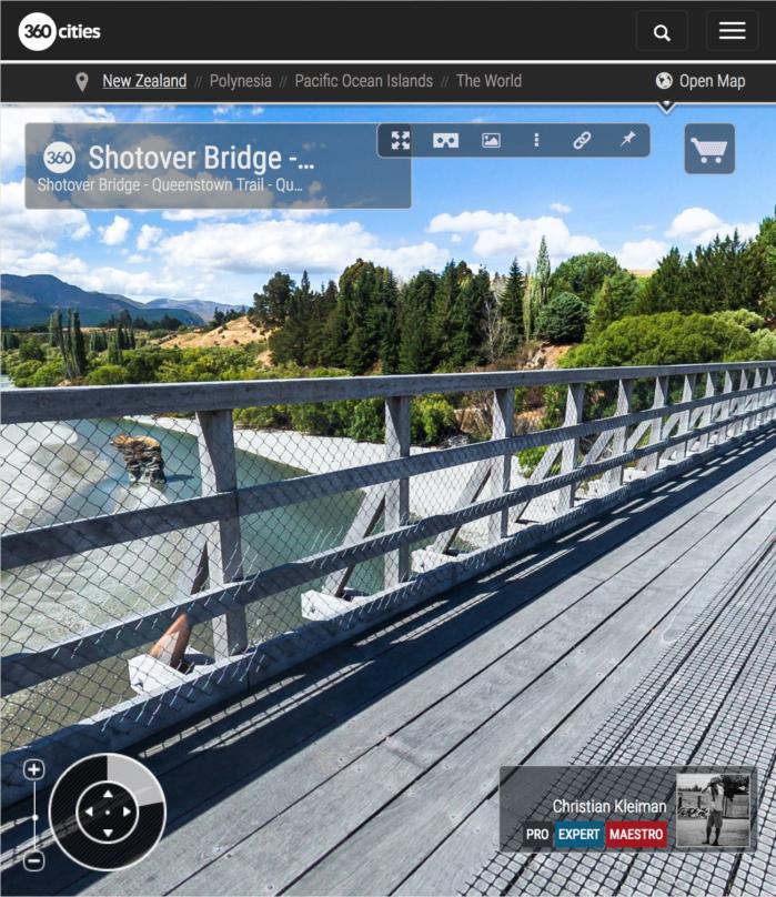 360 VR Pano Foto del puente de Shotover - Queenstown, Nueva Zelanda