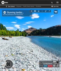 360 VR Pano Photo of Shotover Riverbank - Queenstown, New Zealand