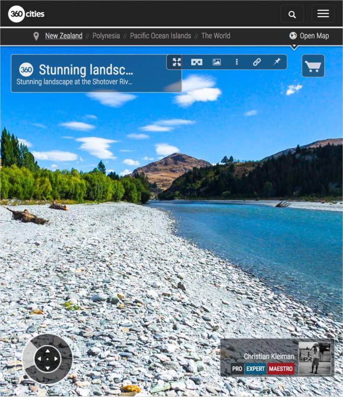 Vista 360 VR espectacular del río Shotover - Queenstown, Nueva Zelanda