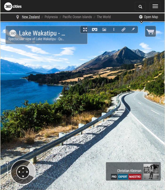 360 VR Pano Photo view from Lake Wakatipu - Queenstown, New Zealand