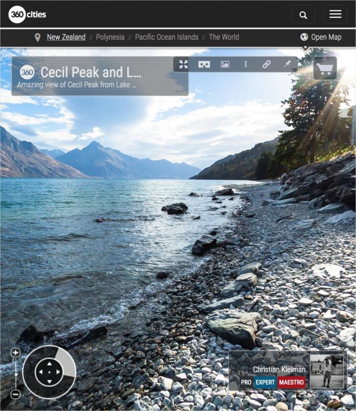 360 VR Pano Photo view at Lake Wakatipu - Queenstown, New Zealand