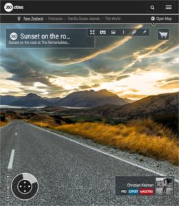 360 VR Foto de un atardecer en carretera - Queenstown, Nueva Zelanda