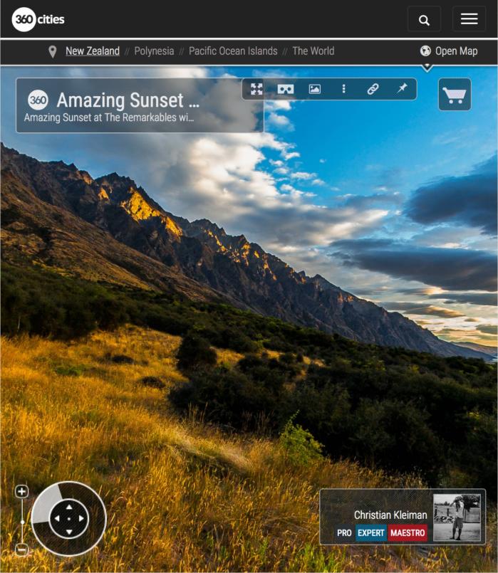 360 VR Pano Foto de una puesta de Sol en Queenstown, Nueva Zelanda