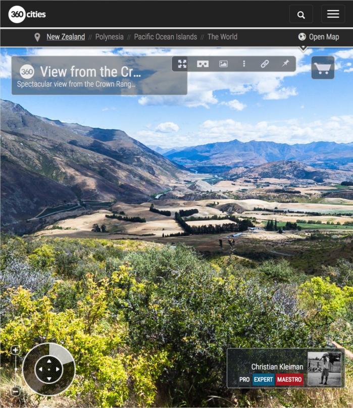 Foto 360 VR desde el mirador Crown Range - Queenstown, Nueva Zelanda