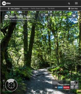 Vista 360 VR de la senda hacia Blue Pools - Parque Nacional del Monte Aspiring - Nueva Zelanda