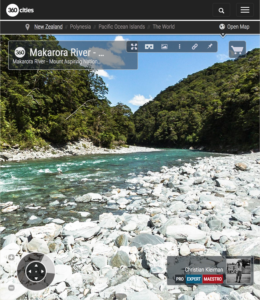 360 VR Photo of Makarora Riverbank - Mount Aspiring National Park, NZ