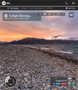 360 VR Photo. Twilight Morning at Lake Hawea - Queenstown, New Zealand