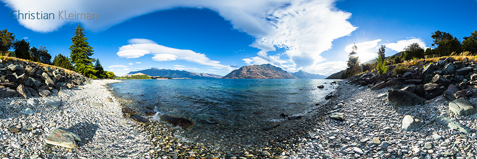 360 VR Pano Photo view at Lake Wakatipu - Queenstown, New Zealand
