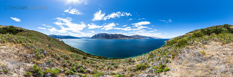 360 VR Photo. Breathtaking Scenery at Lake Hawea - Queenstown, New Zealand