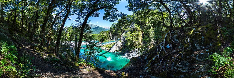 360 VR Photo of the Blue Pools - Mount Aspiring National Park, New Zealand