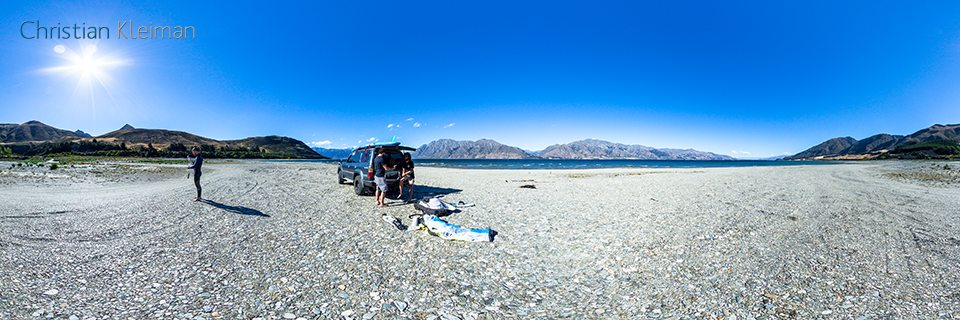 360 VR Photo - Kitesurf at Lake Hawea - Queenstown, New Zealand
