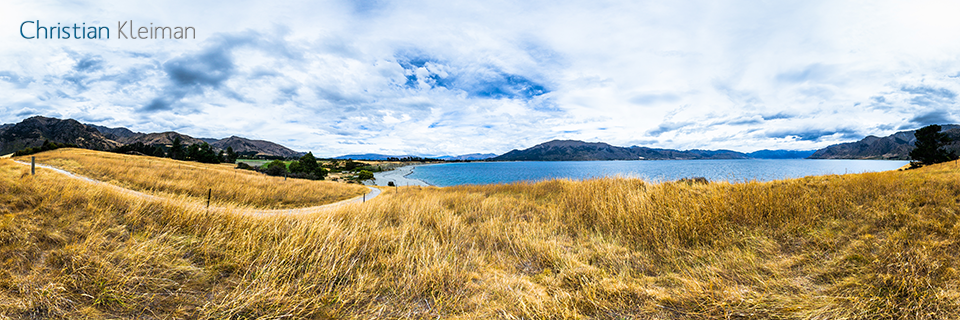 360 VR Photo. Beautiful Landscape at Lake Hawea - Queenstown, New Zealand