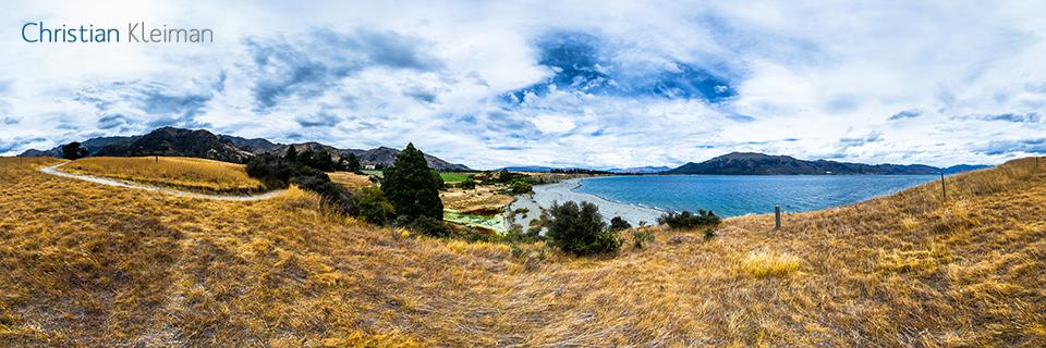Foto Pano 360 VR. Precioso Lugar en Lago Hawea - Queenstown, Nueva Zelanda