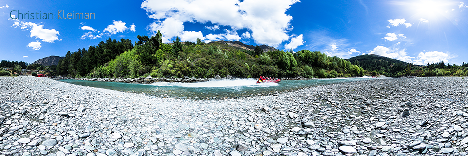 360 VR Pano Photo from the Shotover Jet - Queenstown, New Zealand