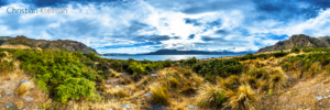 360 VR Photo - Impressive mountain range at Lake Hawea - Queenstown, New Zealand