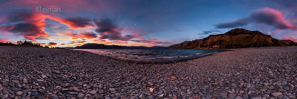 360 VR Photo. Twilight Evening at Lake Hawea - Queenstown, New Zealand