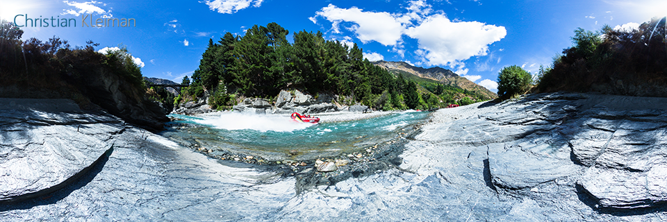 360 VR Photo from Shotover Jet at full speed - Queenstown, New Zealand