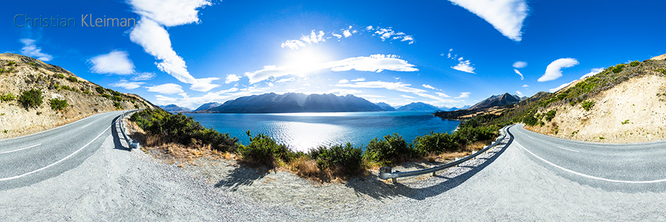360 VR Pano Photo view from Lake Wakatipu - Queenstown, New Zealand