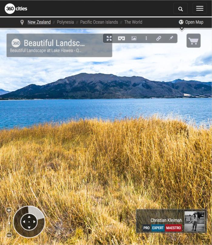 Foto Pano 360 VR. Precioso Paisaje en Lago Hawea - Queenstown, Nueva Zelanda
