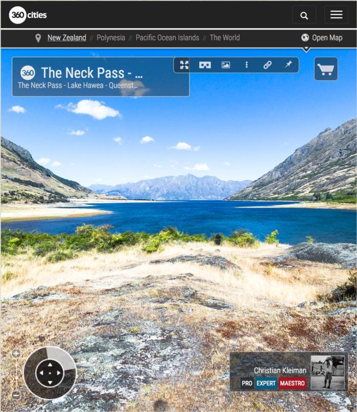 360 VR Pano Foto. Paso The Neck - Lago Hawea - Queenstown, Nueva Zelanda