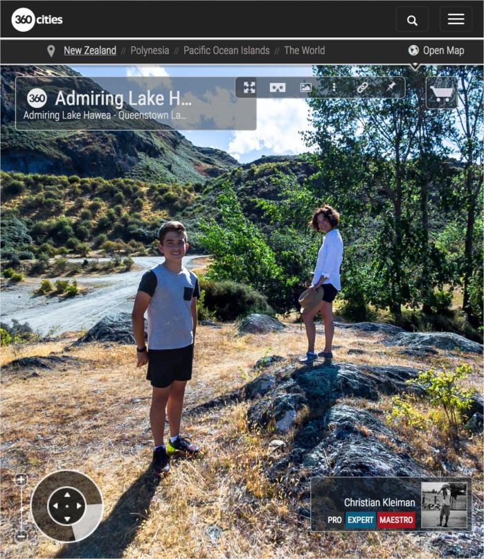 360 VR Pano Foto. Admirando Lago Hawea - Queenstown, Nueva Zelanda