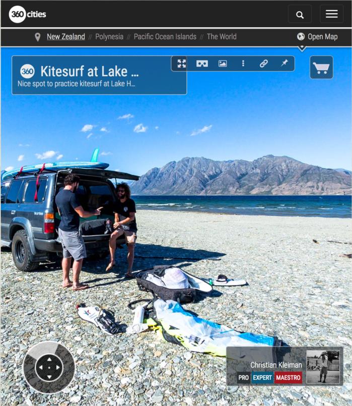 Foto 360 VR - Kitesurf en Lago Hawea - Queenstown, Nueva Zelanda