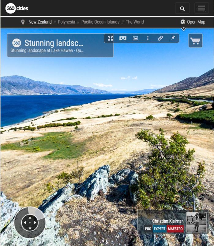 Foto 360 VR - Impresionante paisaje del Lago Hawea - Queenstown, Nueva Zelanda